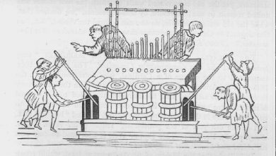 "The above engraving represents the appearance and the working of an organ of 1240. It is taken from the ""Psalter of Edwin"" in the Cambridge Library."